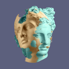 Modern conceptual art poster with ancient statue of bust of Venus. Collage of...