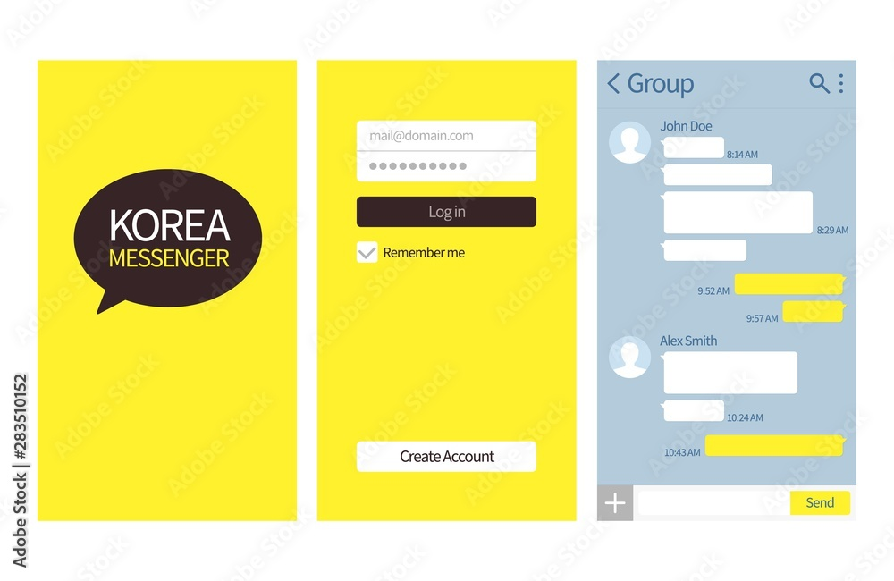 Fototapeta Korean messenger. Kakao talk interface with chat boxes, login and create account page vector template. Kakao korean app interface smartphone illustration