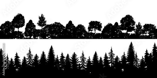 Set of black horizontal silhouettes coniferous treetops forest pine, spruce, cedar Tapéta, Fotótapéta