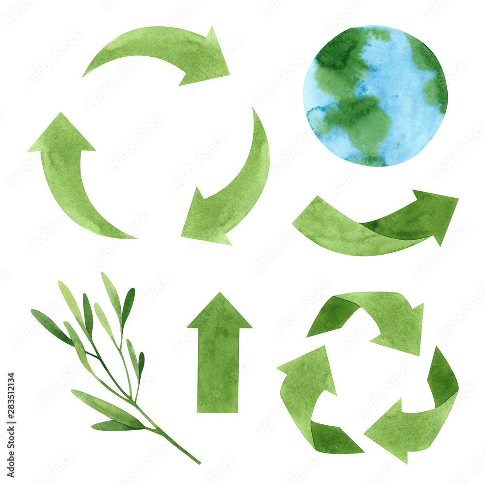Fototapety, obrazy: Watercolor recycling signs and sprig with leaves isolated on white background. Hand drawn reuse symbol for ecological design. Zero waste lifestyle.