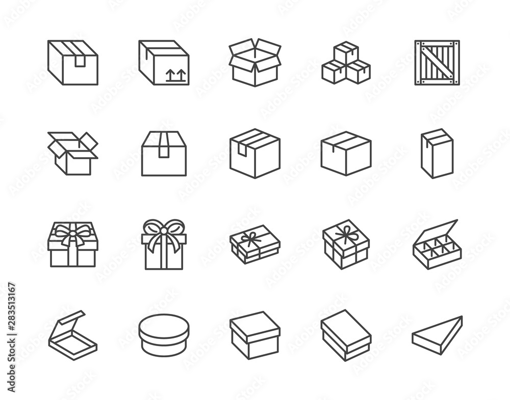 Fototapeta Box flat line icon set. Carton, wood boxes, product package, gift vector illustrations. Simple outline signs for delivery service. Pixel perfect 64x64. Editable Strokes