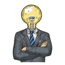 Businessman With Lamp Bulb Ins...