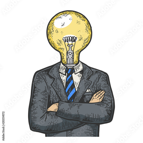 Fotografía Businessman with lamp bulb instead head color sketch engraving vector illustration