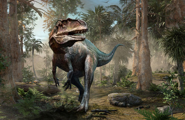 Acrocanthosaurus forest scene 3D illustration