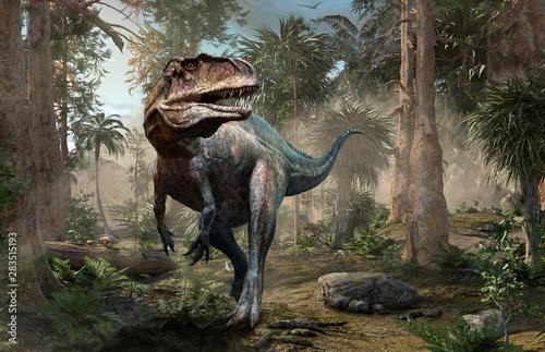 Acrocanthosaurus forest scene 3D illustration