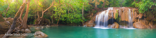 Garden Poster Chocolate brown Beautiful waterfall at Erawan national park, Thailand