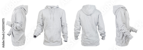 Blank gray hoodie leftside, rightside, frontside and backside isolated on a whit Fototapete