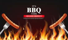 Bbq Sausage Fire Vector Realistic. Vertical Menu Brochure Template Hot Grill. Hot Sauce Chily And Tomato. 3d Illustration Food Isolated