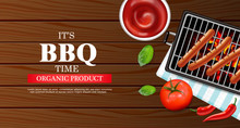 Bbq Grill Party Vector Realistic. Vertical Menu Brochure Template Hot Sausages. Hot Sauce Chily And Tomato. 3d Illustration Food Isolated