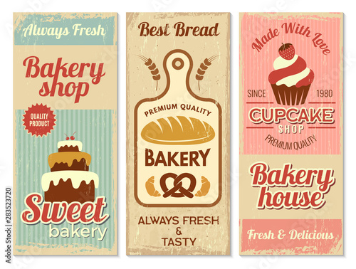 Bakery banners. Sweet cakes kitchen logotype for cooking projects vector restaurant menu template. Cake banner and bakery banner shop illustration Fototapete