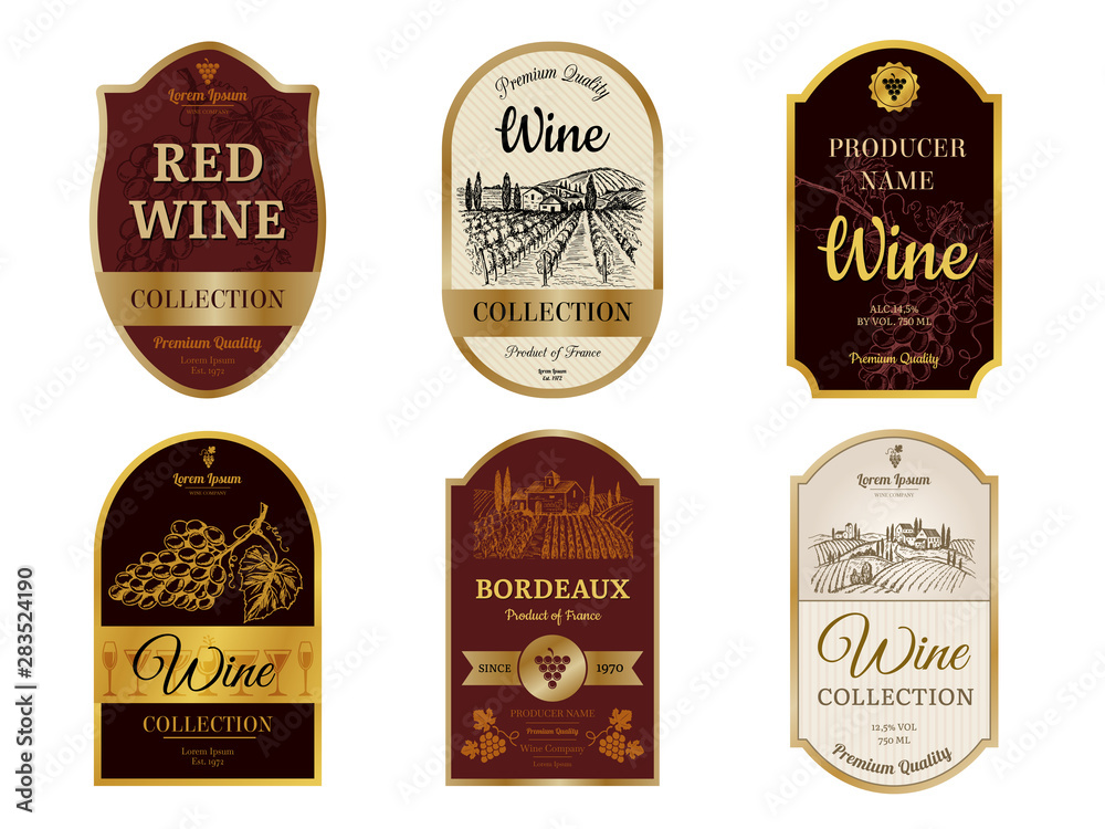 Fototapeta Wine vintage labels. Alcohol wine champagne drinks badges luxury style with pictures of vineyard silhouettes and grapes vector pictures. Illustration of alcohol drink wine, vineyard label for beverage