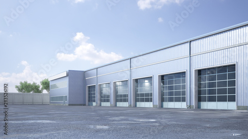Fototapeta Hangar exterior with rolling gates. 3d illustration obraz