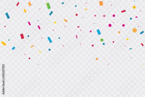 Fototapeta Colorful Confetti On Transparent Background. Celebration Party. Vector Illustration obraz na płótnie