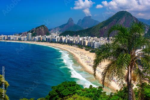 Tuinposter Rio de Janeiro Copacabana beach in Rio de Janeiro, Brazil. Copacabana beach is the most famous beach of Rio de Janeiro, Brazil