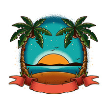 Original Vector Illustration In Vintage Style. Summer Landscape, Beach With Palm Trees On The Shore, Against The Sea