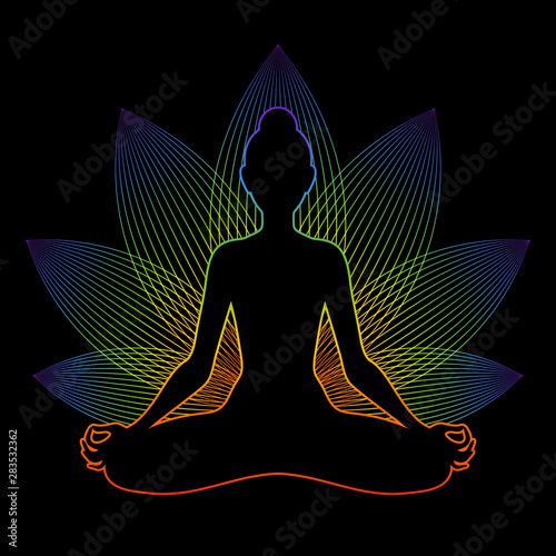Foto Meditating woman with rainbow aura in lotus pose