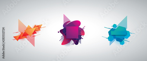 Set of geometric modern gradient color 3d vector objects for backgrounds Canvas Print