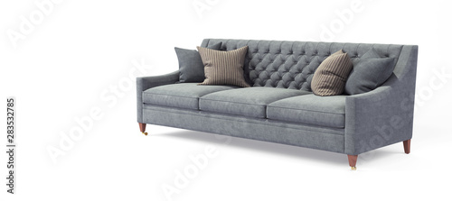 Modern scandinavian classic gray sofa with legs with pillows on isolated white background Fototapet
