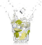 ice cube falling into a mojito isolated on white background