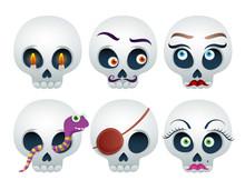 Funny Skulls Set Halloween Vec...