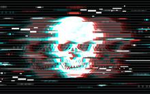 Illustration Of Skull In Glitch Art Style. Design Element For Event Advertising, Branding, Shares, Promotion. Vector Illustration.