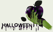 Happy Halloween. Evil Witch And Poisoned Apple , Vector Illustration