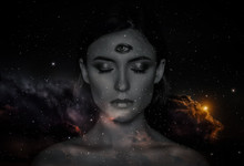Woman With Third Eye On Head -...