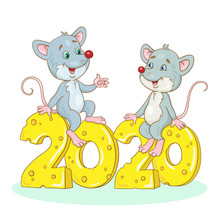 Two Funny Gray Rats - Symbols Of The New Year Are Sitting On Number 2020, Carved From Cheese. In Cartoon Style. Isolated On A White Background.
