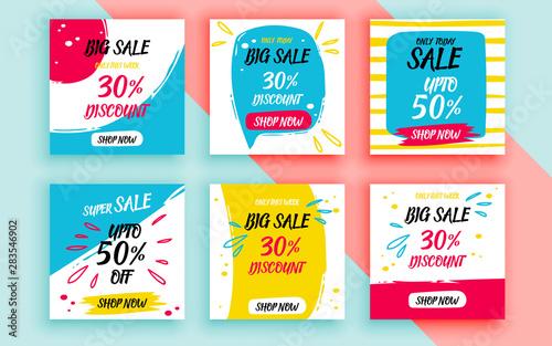 Set of sale banner template design. Vector illustration. Fototapeta