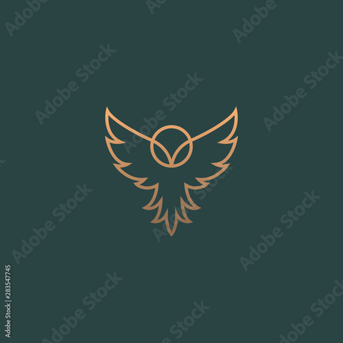 Modern minimal owl illustration. Linear owl logo.