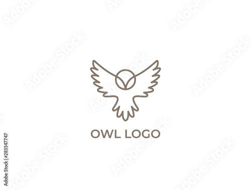 Valokuvatapetti Modern minimal owl illustration. Linear owl logo.