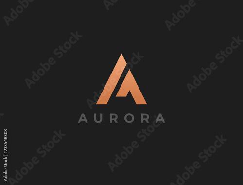Unique modern geometric creative elegant letter A logo template Canvas Print