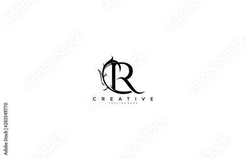 Photo  Initial Letter R Linked Monogram Floral Modern Gothic Logotype