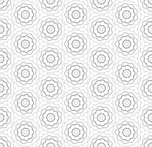 Simple Lines, Seamless Kaleidoscope Style Abstract Black & White B&W Geometry Pattern, Isolated On White Background.
