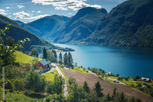 Valokuva  Norway fjord shore, Aurland fjord, beautiful Scandinavian landscape, travel to N