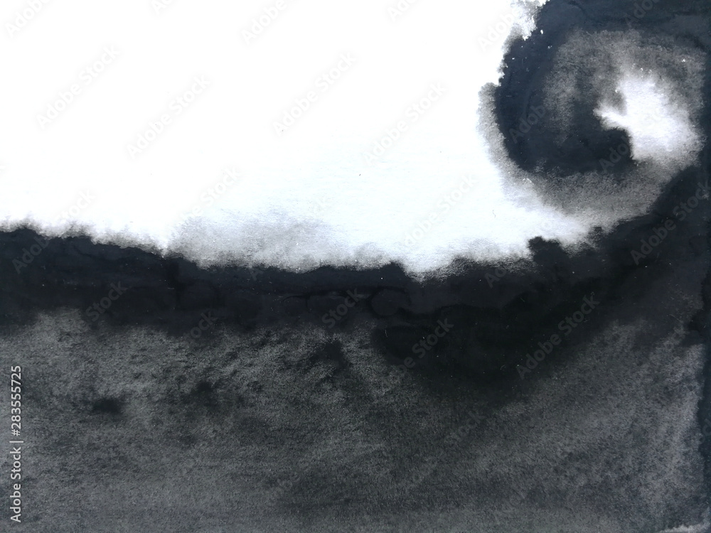 Fototapety, obrazy: watercolor black asian ink abstract hand drawn. isolated white background .wet on wet style.