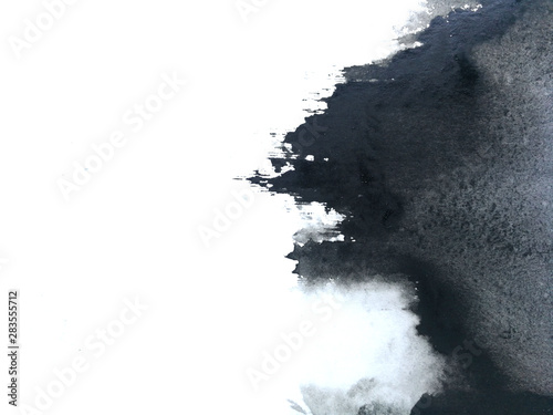 watercolor black asian ink abstract hand drawn. isolated white background .wet on wet style.