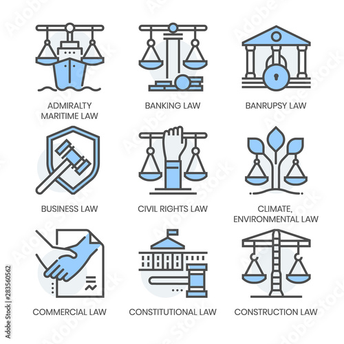 Photo Law fields related, square line color vector icon set for applications and website development