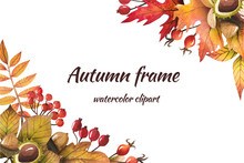 Frame Of Autumn Leaves Painted By Watercolor, Isolated Clipart, Design Of Autumn Themes. Autumn Design
