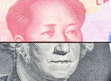 Trade War / Trade Tension Between US And China, Financial Concept : Notes Of USA And China With Faces Of President G Washington And Mao Zedong, Depicts Trade Conflict Between Washington And Beijing