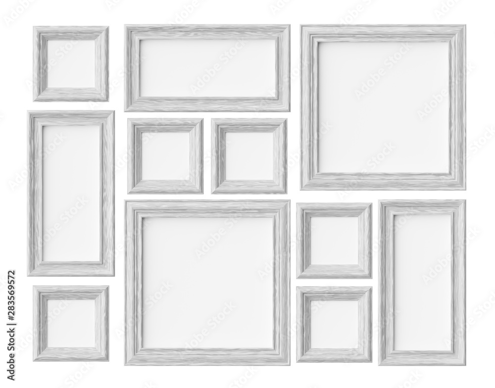 Fototapeta White wood photo or picture frames isolated on white with shadow