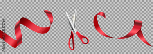 Fototapeta Red scissors cut ribbon realistic illustration