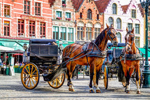 Horse And Carriages In The Main Square Of Bruges Belgium