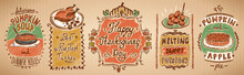 Happy Thanksgiving Day Menu Board With Dishes - Pumpkin And Apple Pie, Roasted Turkey, Pumpkin Soup And Sweet Potato