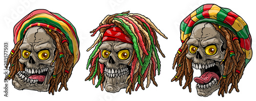Photographie Cartoon detailed realistic colorful scary human jamaican rasta skulls with dreadlocks and cap