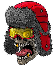 Cartoon Detailed Realistic Colorful Scary Human Skull In Red Winter Fur Hat With Ear Flaps, Glasses And Golden Teeth. Isolated On White Background. Vector Icon.