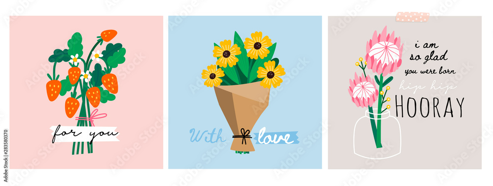 Hand drawn vector set of three various flower and berry bouquets. Camomile, peony, wild strawberries. Colored trendy illustration. Flat design. Paper cut style. Greeting cards