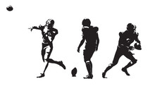 American Football Players, Group Of Football Players. Set Of Ink Drawing Illustrations. Isolated Vector Silhouettes