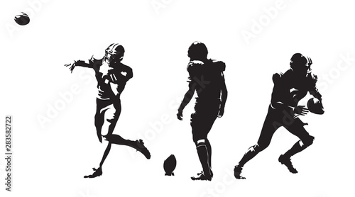 Staande foto Wanddecoratie met eigen foto American football players, group of football players. Set of ink drawing illustrations. Isolated vector silhouettes