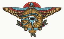 Ancient Egypt Color Tattoo. Sacred Golden Eagle And Sun. Horus Eye And Egyptian Falcon. History Art, T-shirt Design